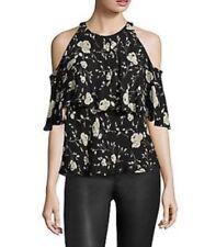 Polo Ralph Lauren Women's Black Floral Print Silk Cold-Shoulder Blouse - Size 14