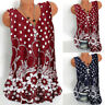 Women's Floral Printed Sleeveless Tank Tops Ladies Casual V Neck Vest Blouse