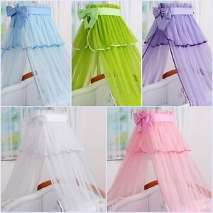 LUXURY BABY COT BED CANOPY DRAPE NET WITH DECORATIVE BOW GREEN PINK BLUE WHITE