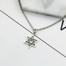 Stainless Steel Silver-Tone Jewish Star of David Charm Pendant Necklace Perfect