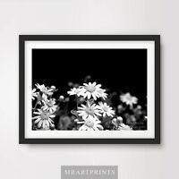 BLACK WHITE DAISY FLORAL FLOWERS Art Print Poster A4 A3 A2 Home Decor Design