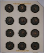 card of 12 22.5mm genuine vintage round real horn buttons | 4 four hole | dark