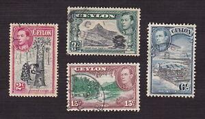 Ceylon 1938 Scott 278, 279, 280, 282 - King George VI - Used