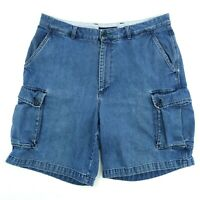 "Vintage 90s Tommy Hilfiger Mens Size 36 Blue Denim Cargo Shorts 9.5"" Inseam"