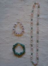 Jade Necklace Pink and Green Spheres Jade Chip and Pink Quartz Sqr Bead Bracelet