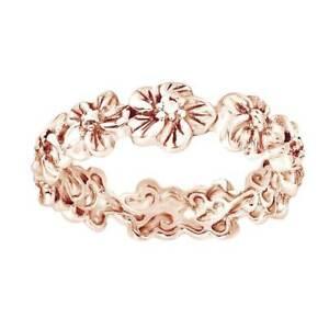 14K Rose Gold Over Silver Plumeria Flowers Eternity Band Wedding Ring