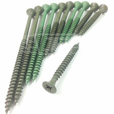 50mm 60mm 70mm 80mm 90mm 100mm THICK DECKING / LANDSCAPE SCREWS GREEN COATED