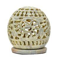 3.5 Inch Hand Carved Tealight Holder Intricate Tendril Openwork Lantern Decor