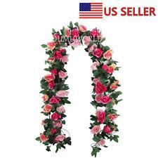 3PC 7.7 Ft Artificial Rose Garland  Flower Vine Ivy Wedding Garden String Decor