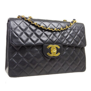 CHANEL Quilted CC Jumbo Double Chain Shoulder Bag 3062898 Black Leather A54154