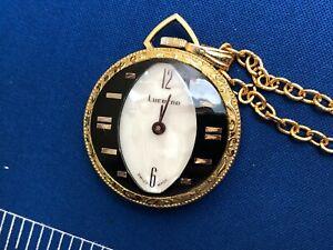 Vintage Lucerne Wind Up Pocket Watch - Gold Tone - Swiss Made - RUNS