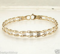 """8.5"""" Mens Railroad Bracelet Real Solid 14K Yellow White Gold Lobster Clasp"""