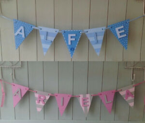 *ANY NAME & ANY COLOURS* Personalised Painted Wooden Bunting Flags & Letters #B4