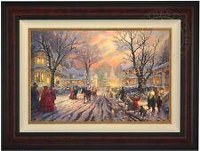 "Thomas Kinkade Victorian Christmas Carol 18"" x 27"" LE G/P Canvas (Burl Frame)"