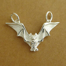 925 Sterling Silver Flying Bat Gothic Feather Wing Halloween Charm Pendant I