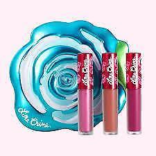 LIME CRIME Gift Set of 3 Mini Liquid Matte Velvetines in Velve-Tin BLUE ROSE