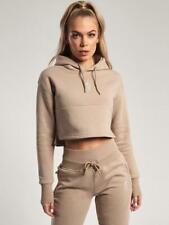 Gym King Womens Hooded Crop Mocha Beige Hoodie Designer Sweatshirt Sweater Hoody