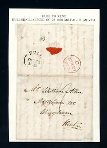 1828  Hull to Kent  Pre-stamp Cover  Hull Mileage Removed    (O528)