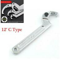 "Chrome Vanadium Steel Motorcycle Adjustable 12"" C Hook Wrench Tool Square Head"