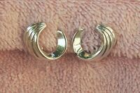 Signed Monet Silver Tone Curls Wave Crest Clip Earrings