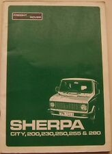 Freight Rover Sherpa City 200 230 250 255 280 original Manual SUPPLEMENT '82 on
