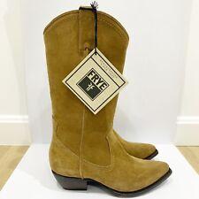 Women's Frye Suede Sacha Tan Tall Western Cowboy Boots 6 New