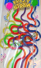 6 FUN COLORFUL PLASTIC KRAZY STRAWS KIDS PARTY FAVORS SILLY STRAW NEW IN PACKAGE