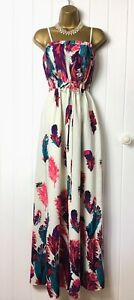 MONSOON Size M 10 Maxi Dress Ivory Pink Floral Straps Stretch Tie Waist Evening