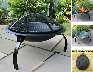 CGC Round Foldable Fire Pit Outdoor Garden Patio Heater BBQ Grill Portable Folding Camping