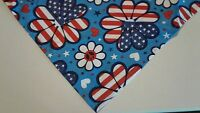 Dog Bandana/Scarf Patriotic Tie On Red White Blue Custom Made by Linda xS S M L