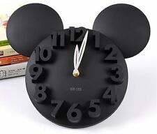 AU-Modern Style Home Decor Decoration Mickey Mouse Big Digit 3D Wall Clock BLACK