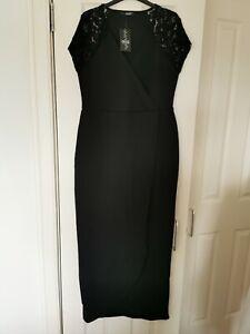 Quiz Curve Black Lace Cap Sleeve Maxi Dress Size 16