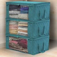 3PCS Underbed Clothes Storage Bags Zipper Organizer Wardrobe Closet Box Holder~