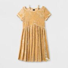 art class Girl's Size L (10-12) Crushed Velvet Gold Cold Shoulder Dress