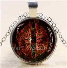 Dark Orange Dragon Eye Cabochon Glass Tibet Silver Chain Pendant Necklace