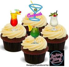 12 Novelty Cocktails Neon Mix A Edible Cake Cupcake Toppers Decorations Birthday