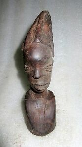 Old Rare Hand Carved Rose Wood Decorative Tribal African Lady Head Face Figurine