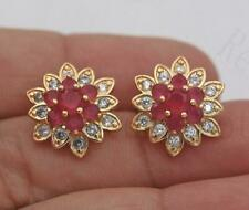 ❤️Earrings 9ct Gold Over Ruby Diamond❤️Studs 16 mm Real UK FREE Post Silver❤️