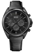 Hugo Boss 1513061 Driver Men's Chronograph Black Dial Black Leather Watch