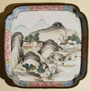 Chinese Qing enamel copper painted pin dish plate 18th century landscape