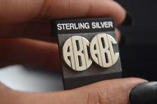 New Round Monogram Earrings Initial Letters .925 Sterilng Silver Handmade Name