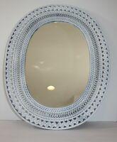 "Vintage Oval White Wicker Wall Mirror 17.5"" x 22"""