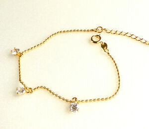"Girl 24K Yellow Gold Plated Adjustable Small Elegant Bracelet 17+3cm 6.7+1 "" UK"