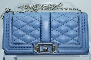 New Rebecca Minkoff Mini Love Crossbody Blue Bag Clutch Leather
