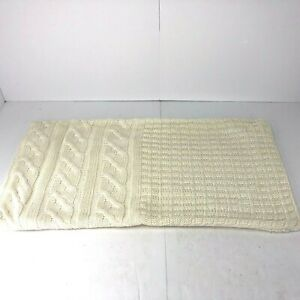 Pottery Barn Knit Pillow Cover 16x26 Cotton Acrylic White Cable Knit