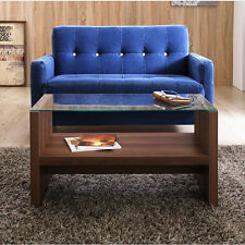 Wood Glass Table Brown MDF Wood Open Bottom Shelf Under Stage CAT-BR NEW Azumaya