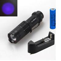 Súper Ultravioleta UV 3W Cree LED 395nm Linterna Antorcha Lámpara Luz 14500 AC