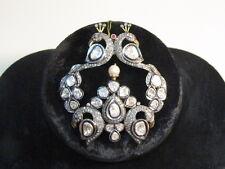 Vintage Diamond Jewelry Rose Cut Sterling Silver Peacock Pendant