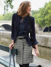 Boden Irene British Tweed Wool Kilt Skirt Black Dogtooth UK 12R. RRP £89.50