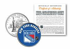 NEW YORK RANGERS NHL HOCKEY NEW YORK QUARTER COIN! COA & STAND
